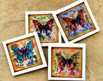 Butterfly Coaster Set - Ceramic Tile - Butterflies - Free U.S. Shipping - Gift for Gardener - Spring - Mother's Day - Coffee Drinker