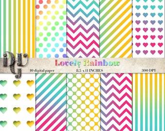 "Rainbow digital paper ""LOVELY RAINBOW"" patterns Valentine digital paper pack chevron, stripes, rainbow hearts rainbow polkadots, dots n. 095"