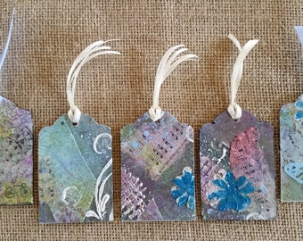 Original Art Tags; Mixed Media Gift Tags; Journaling Tags; One of a Kind Handmade Collage Art; Bookmarks;