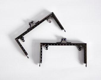 12.5cm Square black kiss lock coin purse frame