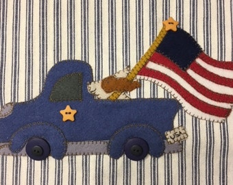 Parade Day, Truck Design with Flag and Basset Hound Tea Towel Applique PDF Design from Quilt Doodle Designs
