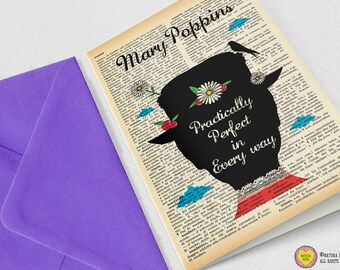 Mary Poppins practically perfect in every way Card-Invitation-Poppins card-party cards-set of 3 card-handmade card-blank card-custom card