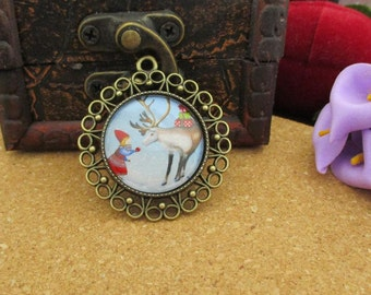 25mm(1 Inch)Finished Bezel Affixed With Photo Glass Cabochon,Child&Snow Deer-B3012