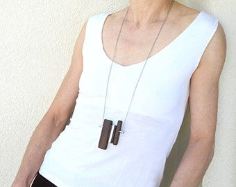 Wood necklace, Wood pendant necklace, One-of-a-kind, Long silver necklace, Statement necklace, Modern jewelry, Contemporary necklace