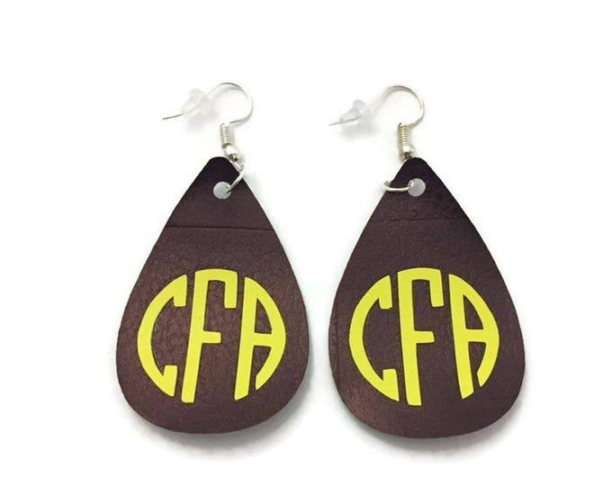 Leather Monogrammed Earrings, Brown Faux Leather Earrings with Monogram, Dangle Monogram Earrings, Teardrop Leather Earrings, Drop Earrings