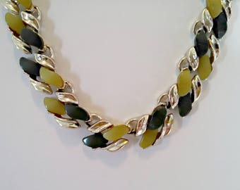 Vintage Necklace, Moonglow Thermoset Lucite Stones, Two Tone Green, Gold Tone Metal, Adjustable, Mid Century, Circa 1950s, Includes Gift Box