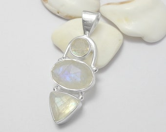 Sterling Silver Faceted Rainbow Moonstone Gemstone Pendant