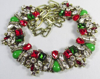 Beautiful red green and clear rhinestone statement necklace.