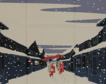 Japanese Wall Art Maiko-San on a Snowy Gion Evening Motif Tenugui Japanese Fabric w/Free Insured Shipping