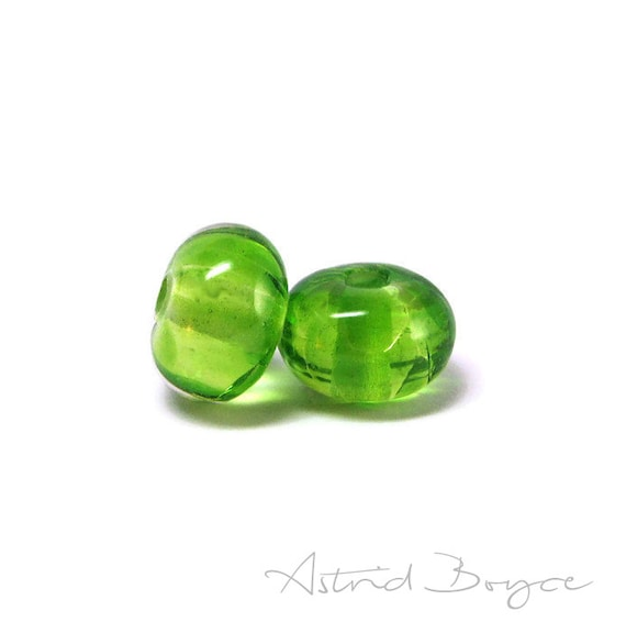 Simply Greenery Transparent Artisan Lampwork Glass Bead Pair- 2017 Pantone Color of the Year-Lovely Transparent Green For Statement Necklace