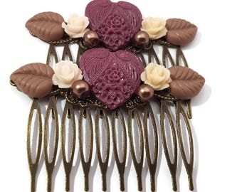 Heart Hair Combs-Neutral Hair Combs-Set of 2-Wedding Hair Combs-Heart Bobby Pins-Heart Hair Clips-Heart Hair Slides-Heart Fascinator-Maroon