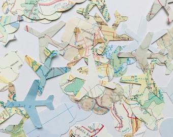 Airplane Map Confetti, 100 Airplane Atlas Cutouts, Avion Confetti, Travel, Moving, Bon Voyage, Airplane Party, Map Airplanes