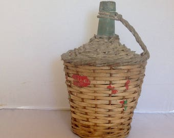 French Vintage Demi John Carboy Wicker Bottle Dame Jean  LAY BY AVAILABLE ( Ref no. A186 )