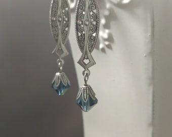 Art Deco Jewelry - Art Deco Earrings - 1920s Wedding - 1920s Jewelry - Great Gatsby Jewelry - Miss Fisher - September Birthday