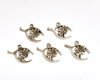 5 Antique Silver 4 Leaf Clover Wishbone Charms - 30-3-2