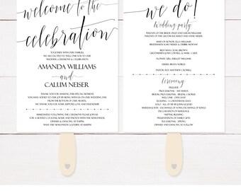 Wedding Program Fans, Simple Wedding Programs, Elegant Wedding Programs, Minimalist Wedding Program, Modern Wedding Program, Printable, C1