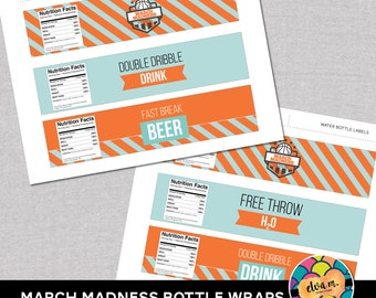 March Madness Water and Beer Wraps. Basketball Party Water Label Wraps. Beer Bottle Wraps  *DIGITAL DOWNLOAD*