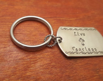 Live Fearless-inspirational key chain-Christian gift-Religious gift-Baptism gift-Confirmation gift-religious key chain-christian key chain