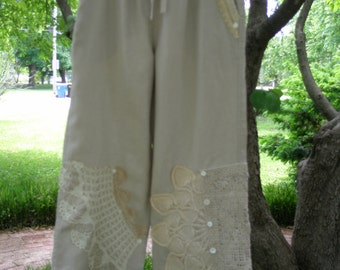 Linen Drawstring Pants Embellished With Antique Lace OOAK