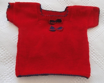 2 years, wool, short sleeve sweater, red for girl