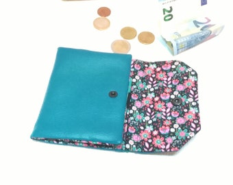 women's wallet, wallet imitation leather, blue card, wallet woman, rack cards, liberty style, case cb, turquoise