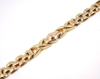 """Vintage Solid 14K Gold Tri-Color Bracelet 10.1g 7.5"""" ITALY"""