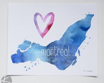 I heart Montréal 8 X 10 digital & watercolor art print - Canadian city Quebec province MTL Island 514