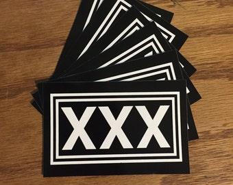 "Straight Edge Sticker. Screen printed vinyl. 4.25""x2.75"" XXX SXE HARDCORE"