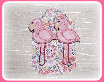 2 Flamingo Paper Clip Planner Accessory - Teacher's Gift -Felt Paper Clip - Notebook Marker - Bookmark Planner Clip - Planner Accessory