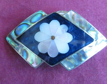 Vintage Alpaca Brooch / Pendant with Inlaid Abalone and Mother of Pearl