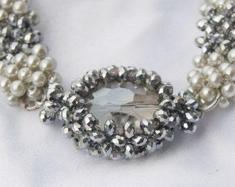 Siver Crystal Beadwoven Link bauble Bracelet