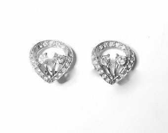 Vintage Rhinestone Clip on Earrings Petite Wedding Bridal 1950s