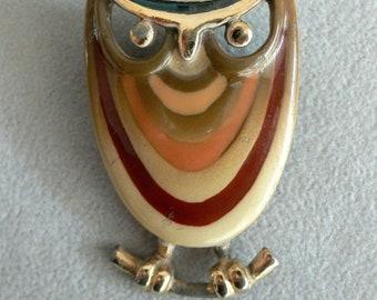 Vintage Eisenberg Owl Brooch Original Enameled Signed