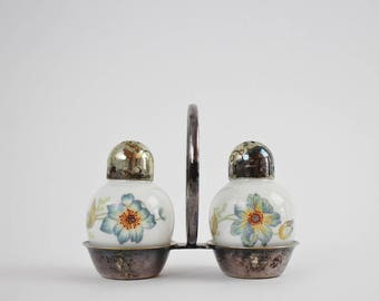 Vintage Thomas Germany Porcelain Salt and Pepper Shakers in Original Silver Plate Carry Frame - Colorful Floral Design