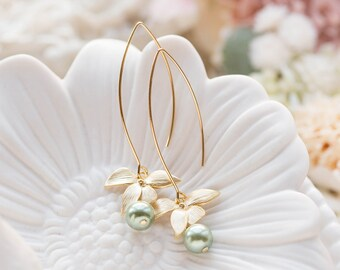 Sage Green Pearl Earrings with Gold Flower, Olivine Sage Green Wedding Bridal Earrings, Valentine's Day gift for mom wife girlfriend her
