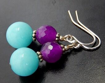 Blue Purple Earrings, Fuchsia Earrings, Candy Colored, Sterling Silver