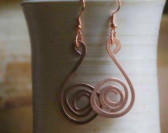 Copper Wire Pinwheel Earrings. 16 ga. Free U.S. Shipping. Handmade.