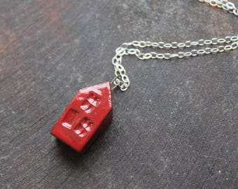 Ceramic Tiny House Necklace with Red Glaze on Sterling Silver Chain  Gift