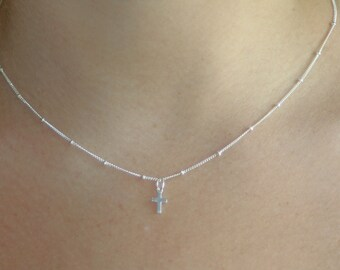 STERLING PETITE CROSS - sterling silver Tiny cross on satellite chain