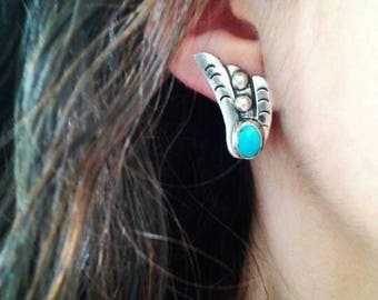 Vintage Turquoise Wings Sterling Clip-on Earrings