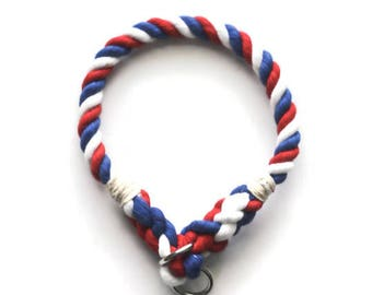 The America Rope Dog Collar // Red, White, and Blue Dog Collar // USA Collar // 4th of July Rope Dog Collar