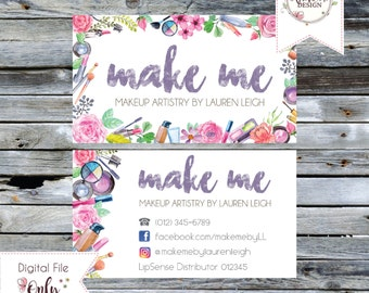 """Floral Makeup/Cosmetics Business Card // 3.5""""x2"""" // Double Sided // Personalized Digital Files"""