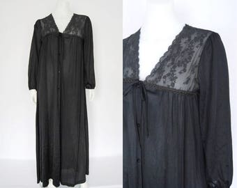 Vintage Diane von Furstenburg robe, 80s black lace dressing gown -- long robe, pyjamas, night gown, peasant sleeves, button front, lingerie