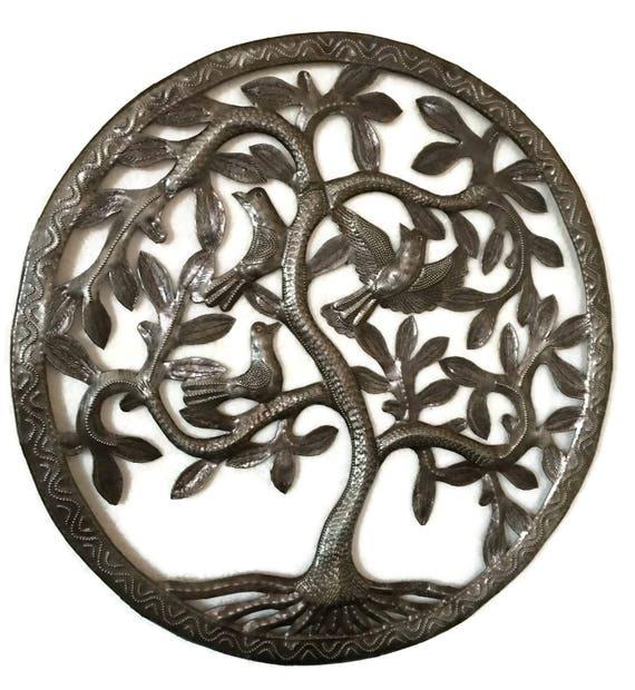 "Tree of Life,Haitian Metal, Birds, Recycled Steel Garden Art, Fair Trade, 17""x17"""