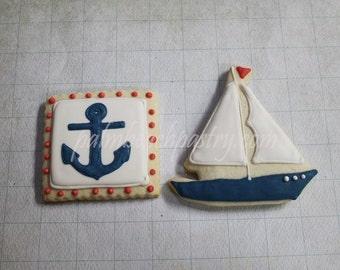 Nautical Theme  Sail Boat & Anchor  Sugar Cookies 1 Dozen (12)