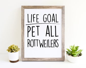 Rottweiler Funny Dog Puppy Womens Wall Art Printables for Dog Moms Cute Décor Gifts for Dog Lovers