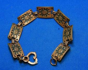 Vintage Copper Happy Sun Face Bracelet