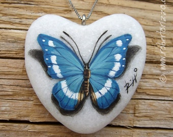 Heart Shaped Blue Butterfly Pendant | Hand Painted Jewels
