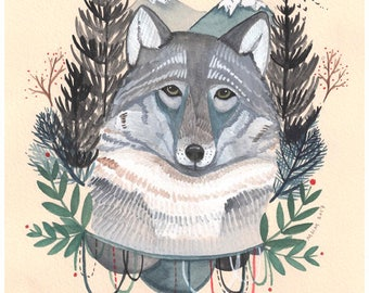 Art - Art Print - Wolf Art - Print of Painting - Illustration - Wolf Illustration - Illustration Art - 8x10 Art Print - Into the Mountains