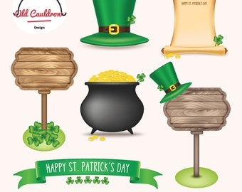 St. Patrick's day clipart, Irish clipart, clover clipart, digital clip art, gold clipart, digital images,  vector graphics CL028